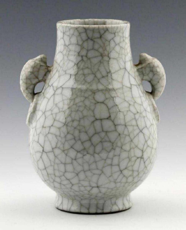 Chinese Qianlong Crackle Glazed Zun White Vase