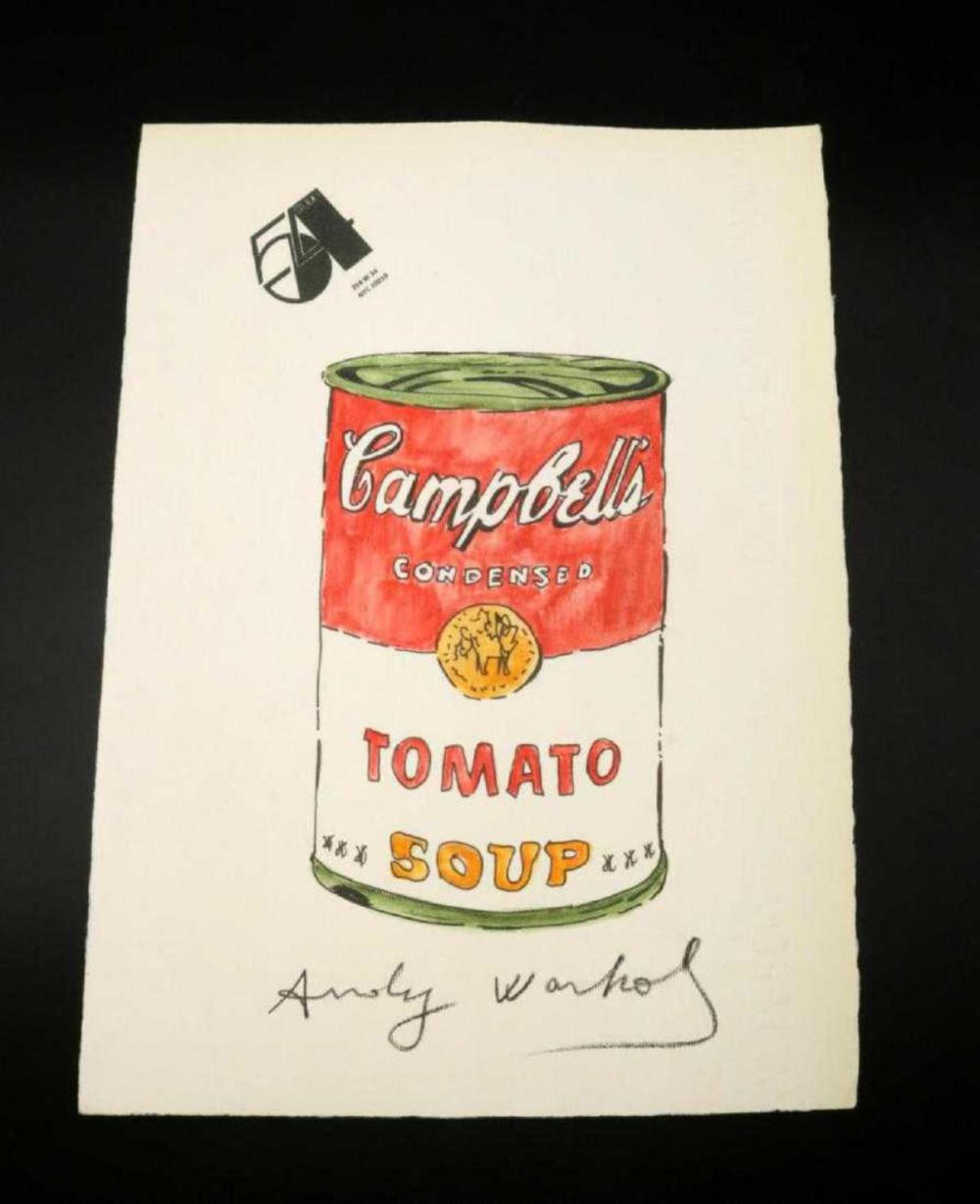 """Attr. To Andy Warhol """"Campbell's Tomato Soup"""" Drawing"""