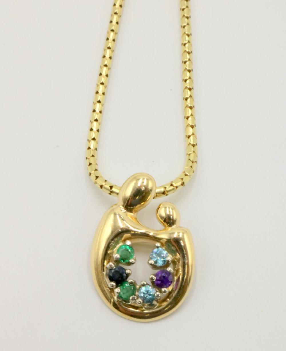 """14Kt """"Mother & Chico"""" Brooch w/ Necklace"""