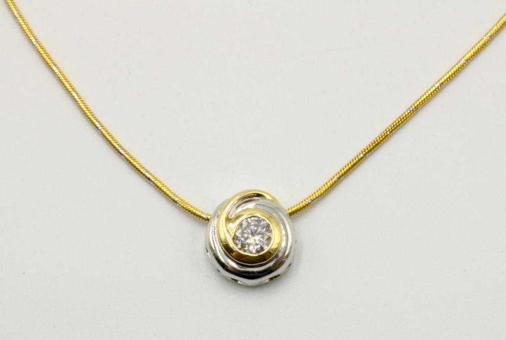 14Kt Two-Tone Diamond Pendant w/ Necklace