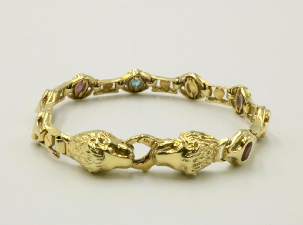 "14Kt ""Lion Head"" Semi-Precious Stone Bracelet"