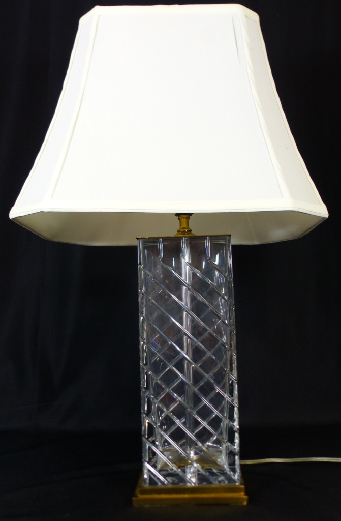 Image of: Lot Pr Baccarat Mid Century Crystal Table Lamps