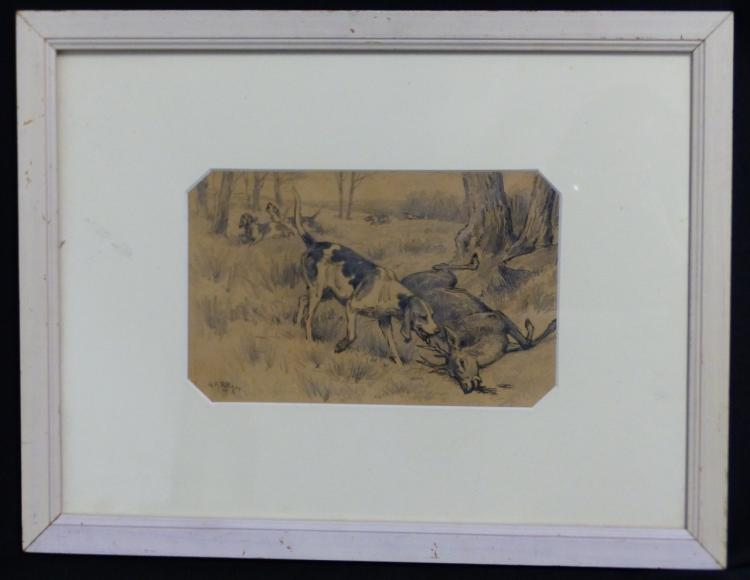 GEORGES ROETIG PEN & INK ON PAPER HUNTING SCENE