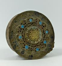 FRENCH GILT FILIGREE JEWELED COMPACT