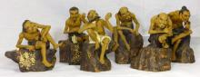 6pc CHINESE SHIWAN POTTERY FIGURES