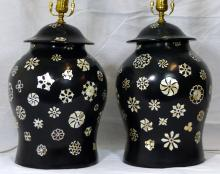 PR BLACK LACQUER & MOTHER OF PEARL URNS / LAMPS