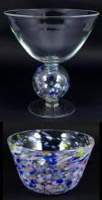 2pc MOTTLED ART GLASS COMPOTE & BOWL SIGNED