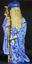 CHINESE BLUE & WHITE PORCELAIN ELDER w STAFF 23