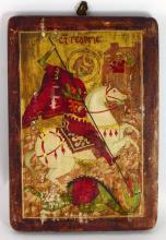 RUSSIAN ICON ST GEORGE SLAYING THE DRAGON