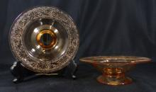 PR AMBER GLASS ETCHED CANDY DISHES