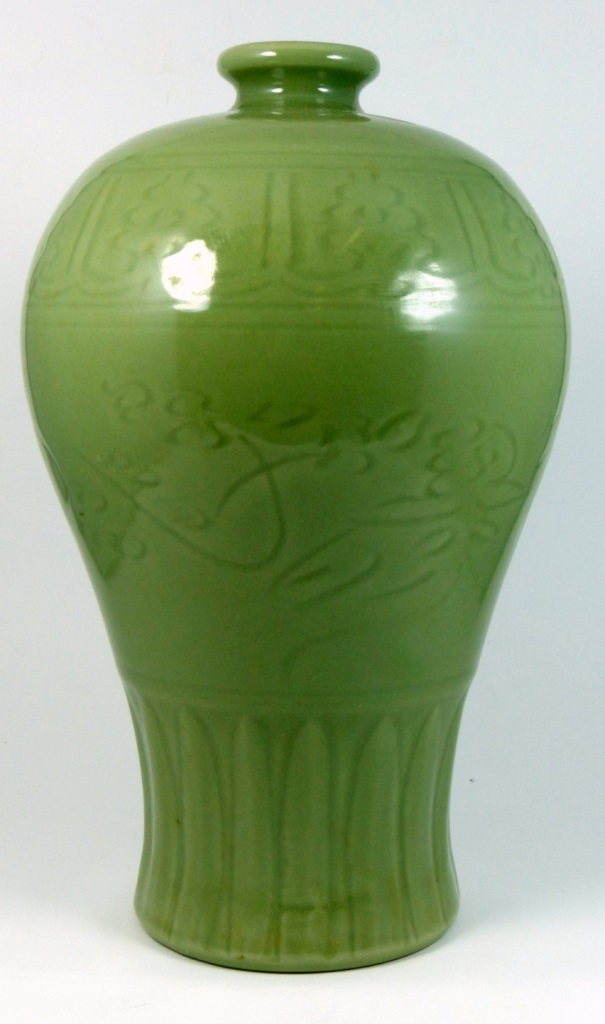 Chinese longquan celadon glazed meiping vase for Asian antiques west palm beach