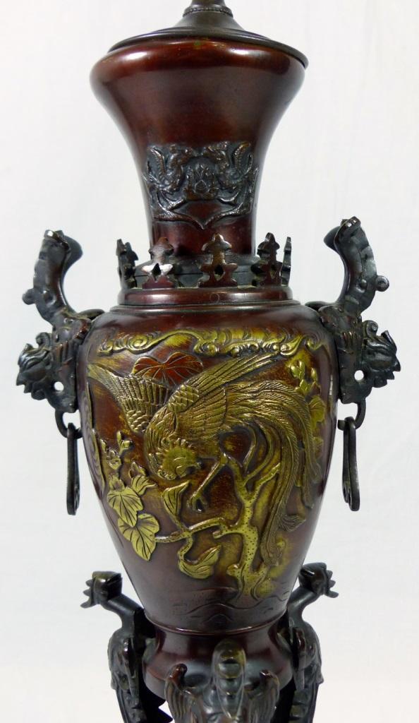 Pr japanese bronze phoenix lamps for Asian antiques west palm beach