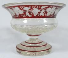 BOHEMIAN CRANBERRY CUT TO CLEAR FOOTED BOWL