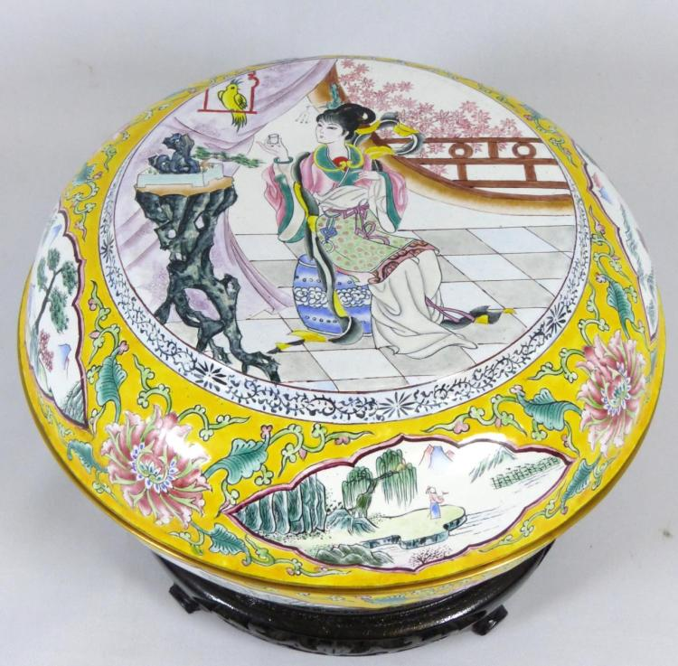 Chinese enameled round covered box for Asian antiques west palm beach