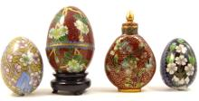 4pc CHINESE CLOISONNE ENAMEL EGGS & SNUFF