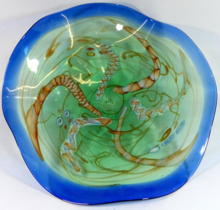 Murano large art glass centerpiece bowl