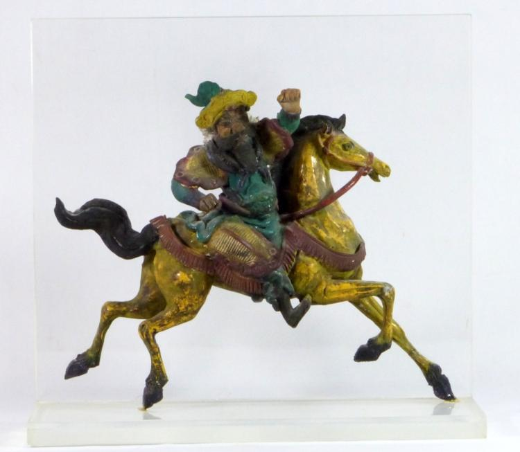 ANTIQUE CHINESE GLAZED ROOF TILE WARRIOR ON HORSE