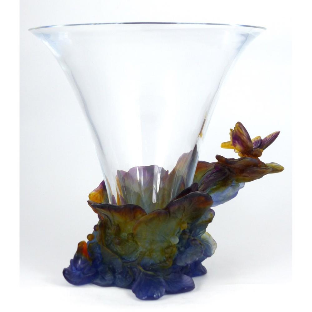 daum france pate de verre glass papillon vase. Black Bedroom Furniture Sets. Home Design Ideas