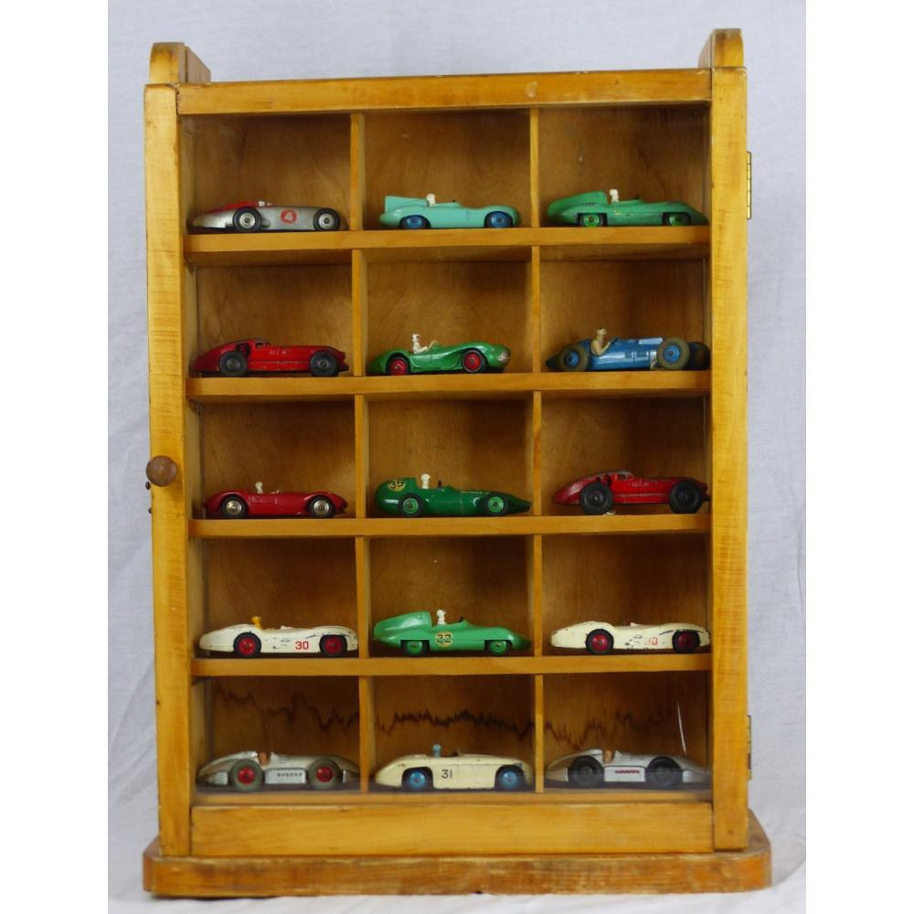 15pc DINKY TOY RACE CARS IN DISPLAY CASE