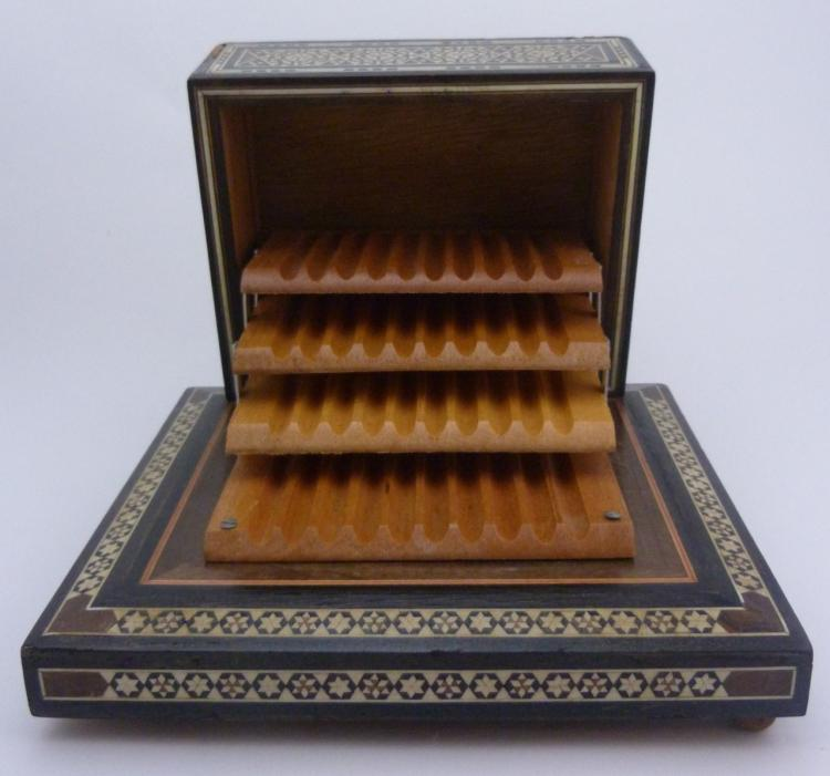 marquetry inlaid wood cigarette music box. Black Bedroom Furniture Sets. Home Design Ideas