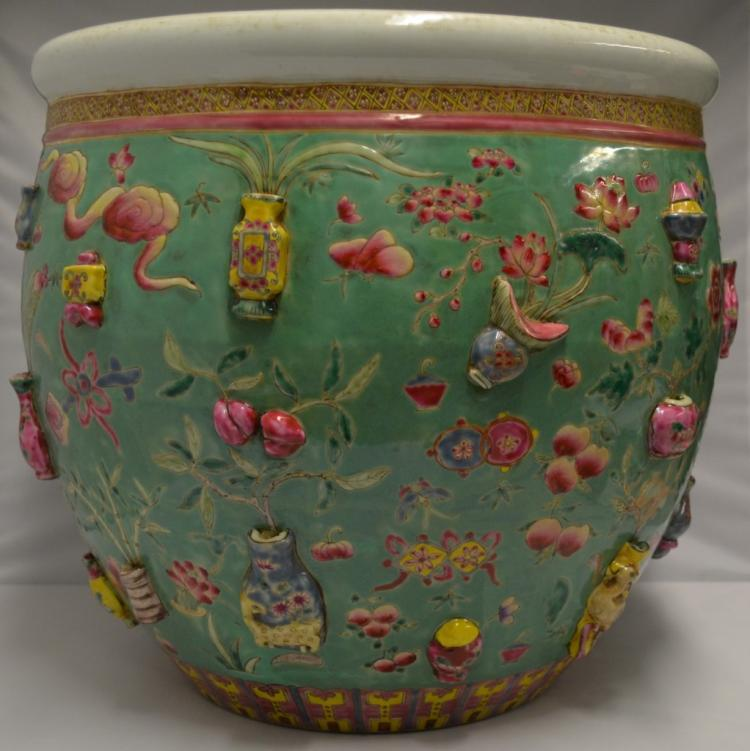 Chinese green ground famille rose fish bowl for Asian antiques west palm beach