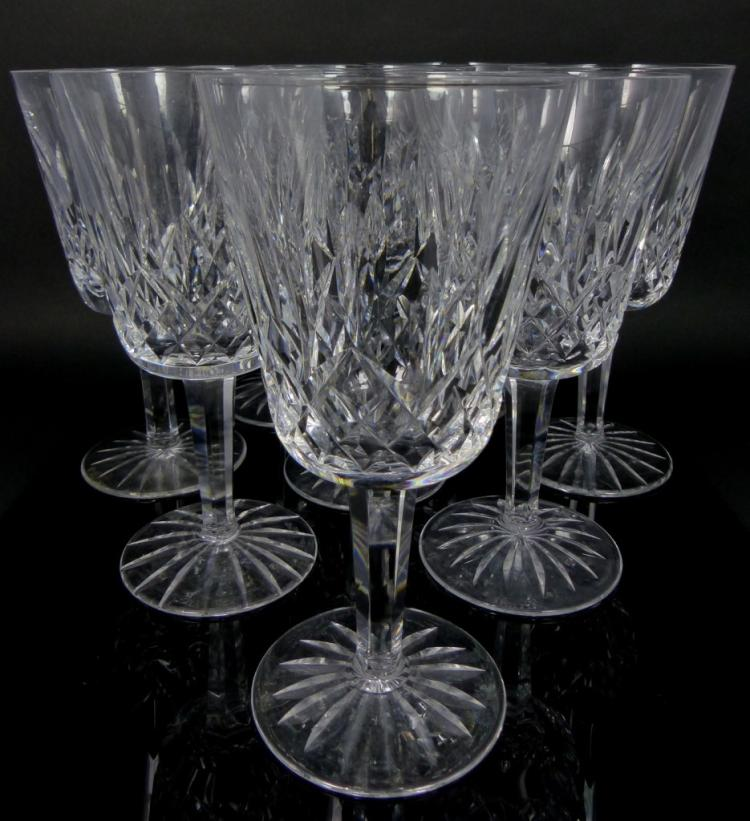 9pc Waterford Crystal Lismore Claret Wine Glasses