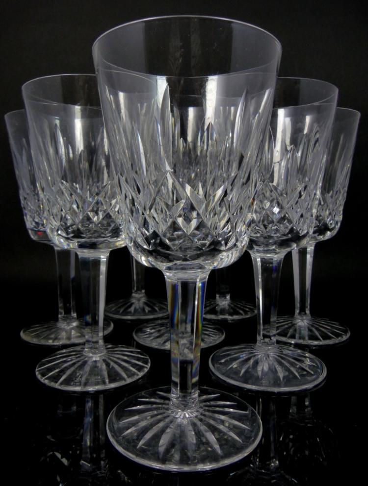 9pc waterford crystal lismore claret wine glasses - Wedgwood crystal wine glasses ...