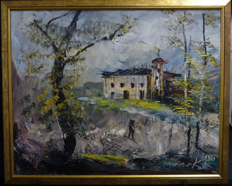 Morris katz oil painting on masonite landscape for Katz fine art