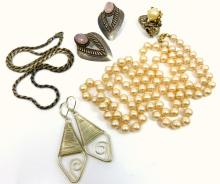 7pc COSTUME JEWELRY MARVELLA & STERLING SILVER