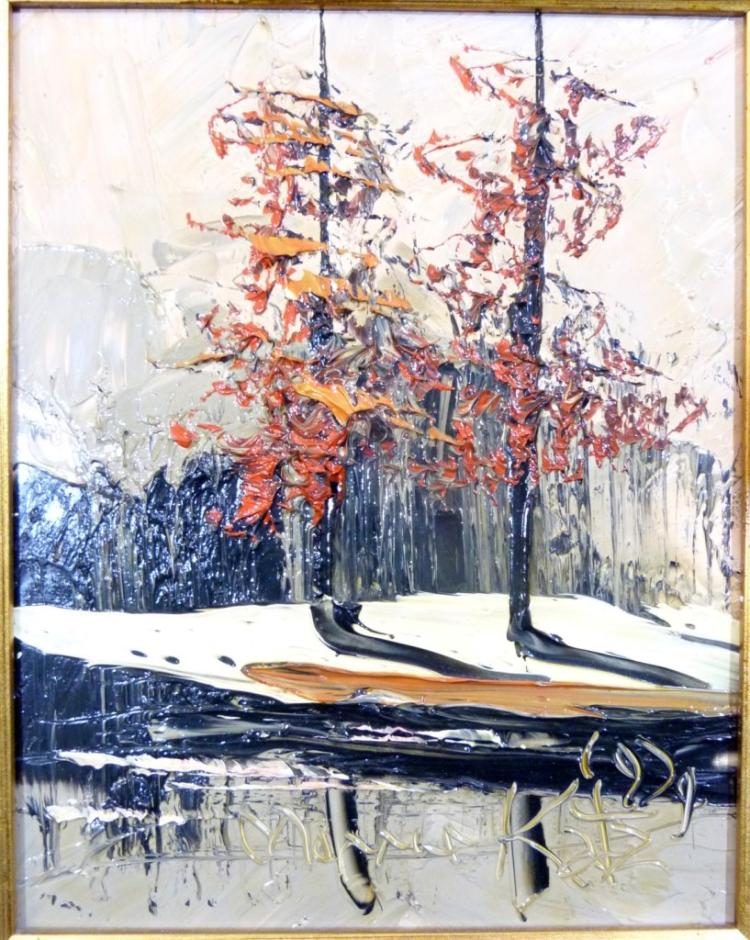 Pair morris katz landscape oil painting on board for Katz fine art