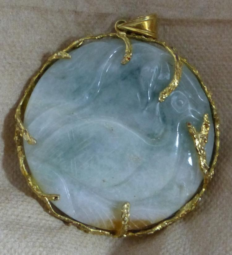 Chinese 14k yellow gold jadeite fish pendant for Gold fish pendant