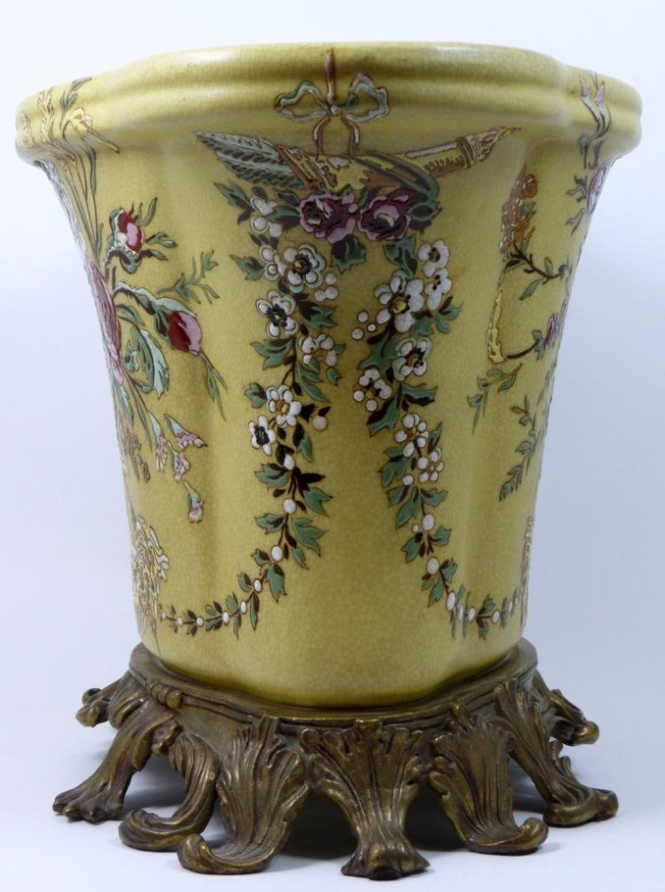 Decorative porcelain jardiniere w gilt base for Jardiniere decorative