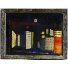 JAMES LECHAY CITYSCAPE WATERCOLOR ON PAPER