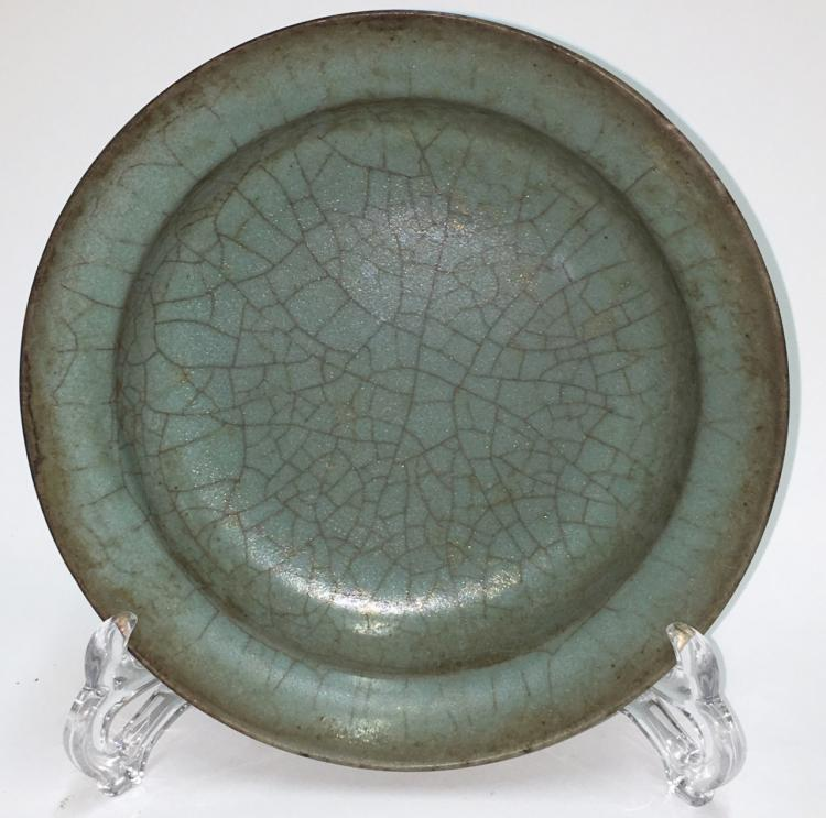 CHINESE CRACKLED CELADON PORCELAIN PLATE