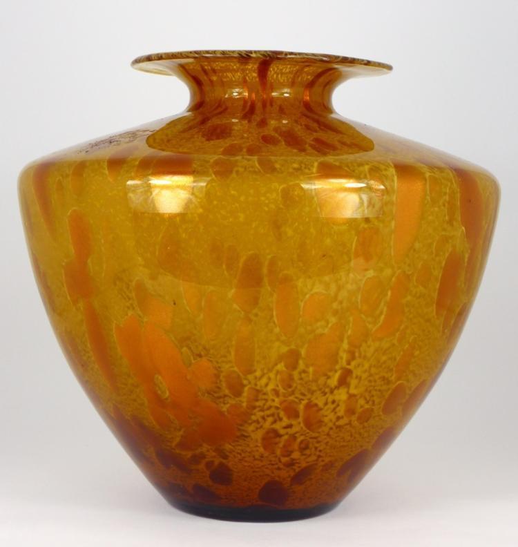 MURANO GOLD ART GLASS VASE SIGNED
