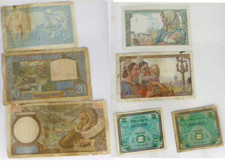 7pc FRENCH BANK NOTES 1941-1944