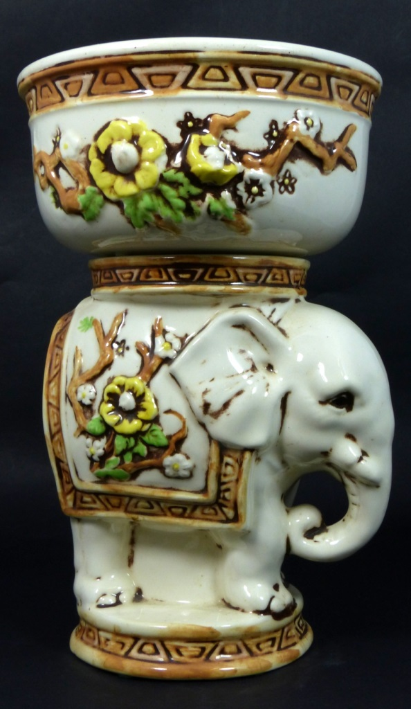 HAND PAINTED POTTERY ELEPHANT PLANTER