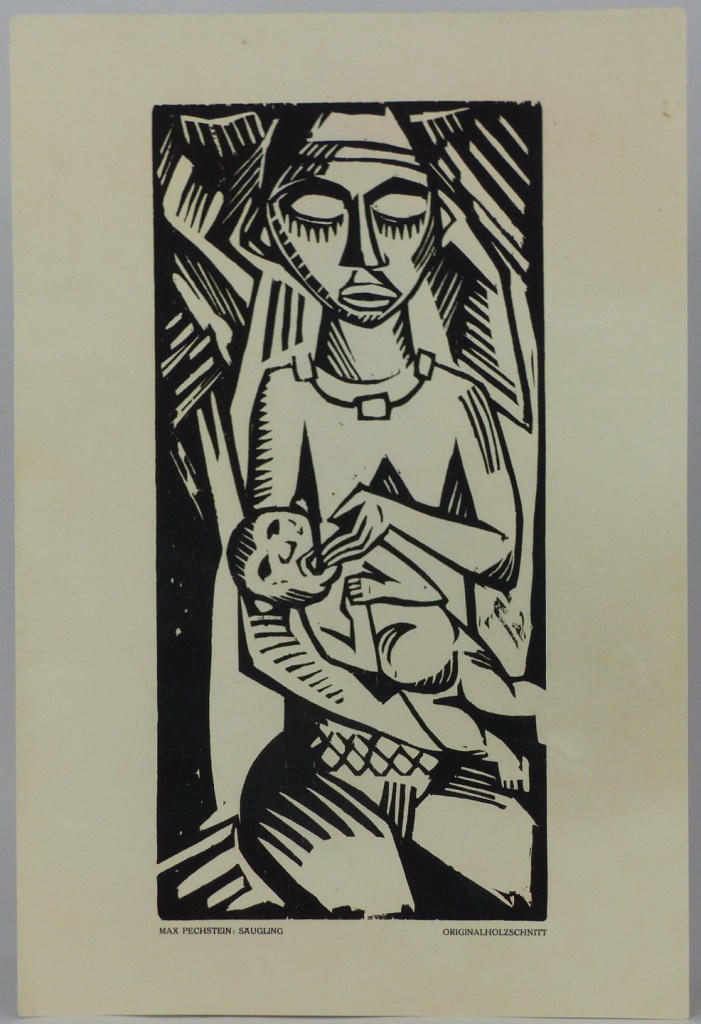MAX PECHSTEIN 'SAUGLING' WOODCUT