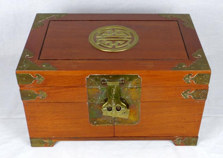 CHINESE WOODEN JEWELRY BOX w BRASS HARDWARE