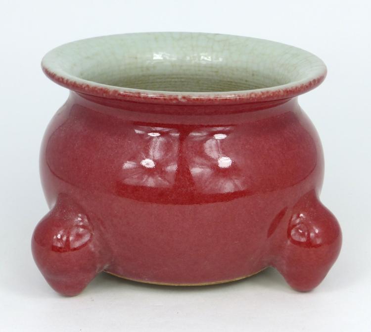 CHINESE RED-GLAZED PORCELAIN CENSER