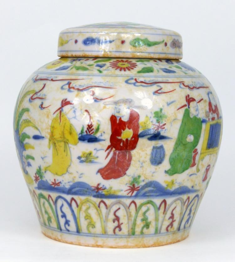 CHINESE WUCAI GLAZED PORCELAIN GINGER JAR