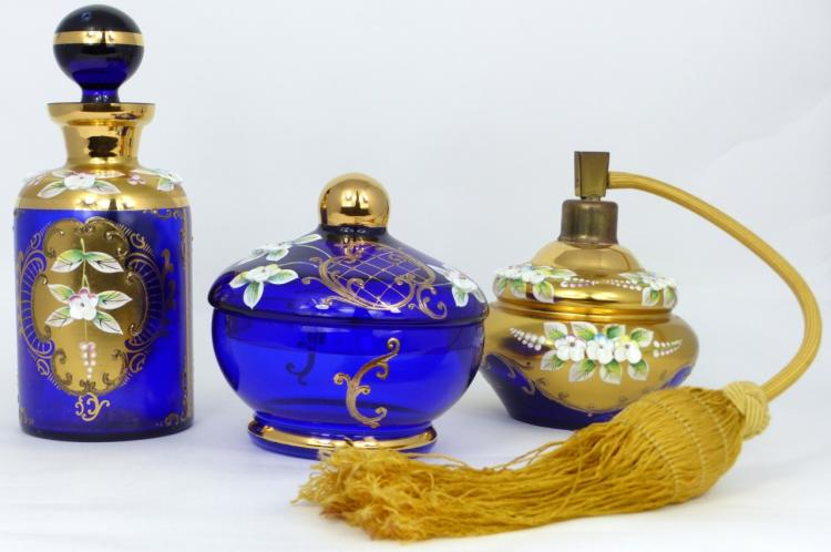 3pc BOHEMIAN COBALT & GILT GLASS VANITY SET