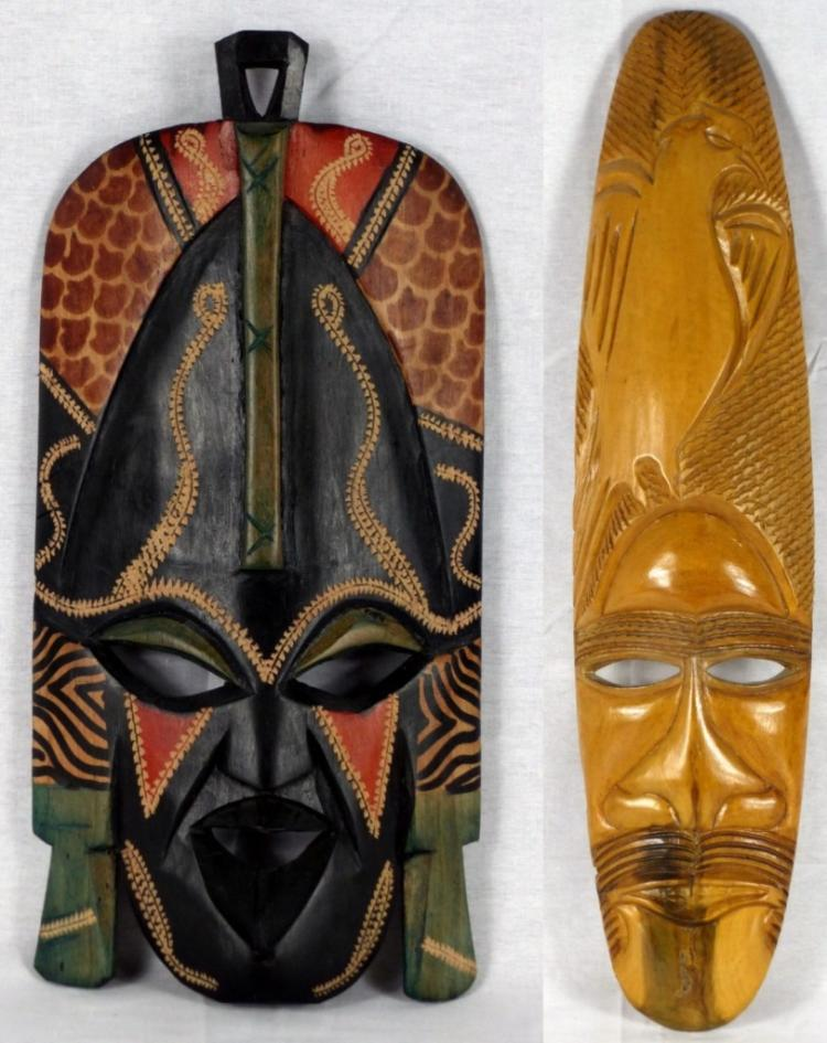 2pc AFRICAN CARVED TRIBAL WOODEN MASKS