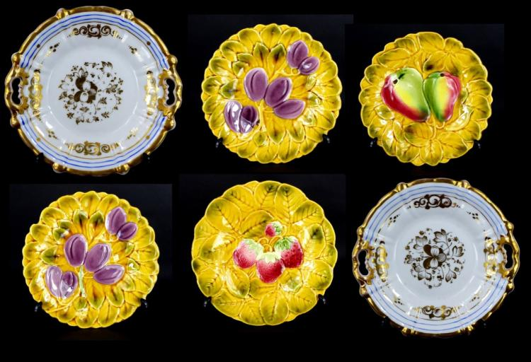 6pc FRENCH MAJOLICA & CARL TIELSCH PORCELAIN ITEMS