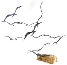 BRIAN BIJAN BIRDS IN FLIGHT 3D METAL SCULPTURE