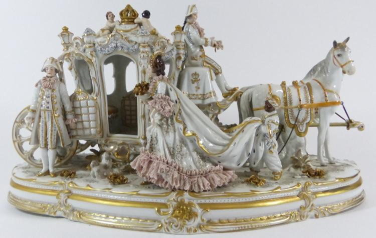 VOLKSTEDT PORCELAIN HORSE DRAWN CARRIAGE