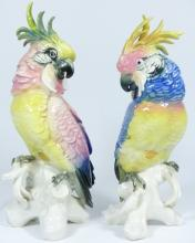 PAIR KARL ENS GERMAN PORCELAIN COCKATOO FIGURES