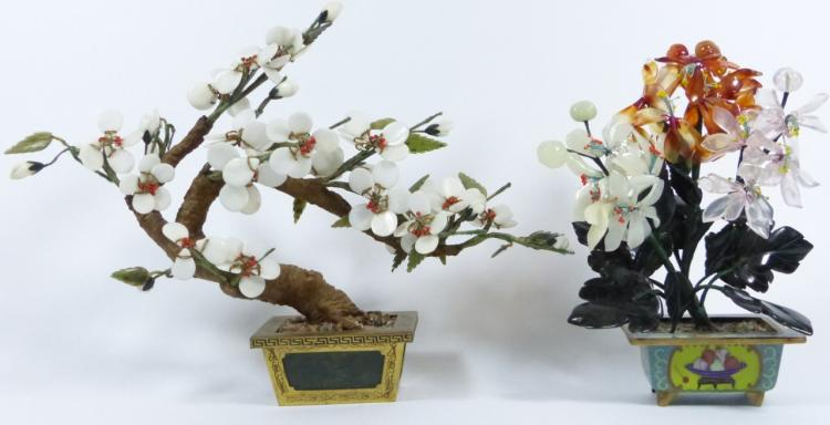 TWO CHINESE SEMI-PRECIOUS STONE TREES