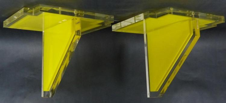 PAIR VINTAGE YELLOW THICK LUCITE WALL SHELVES