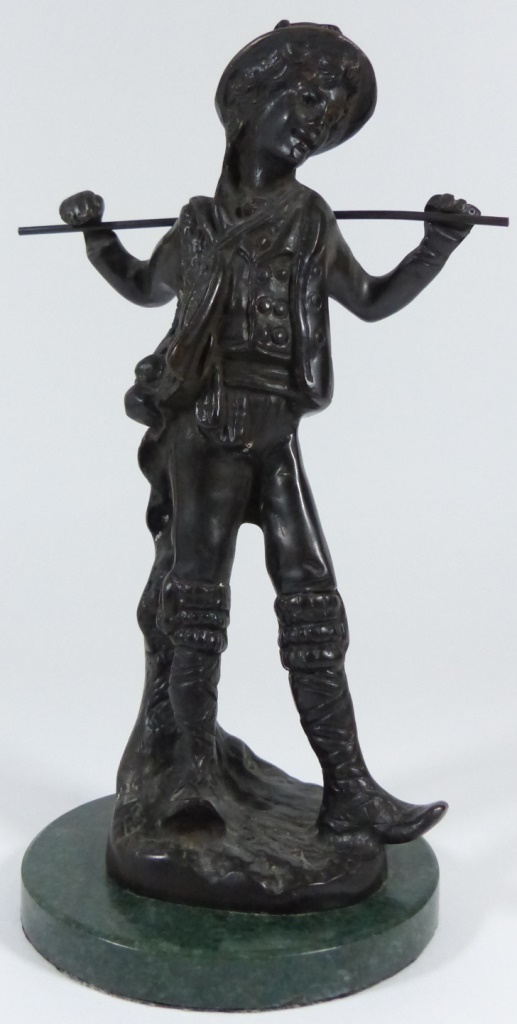 CONTINENTAL BRONZE BOY ON MARBLE BASE